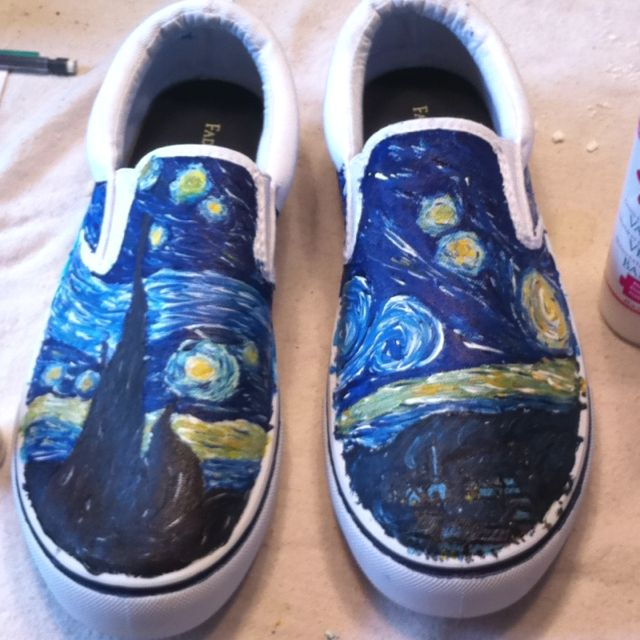 white canvas shoes that i painted using acrylic paint with