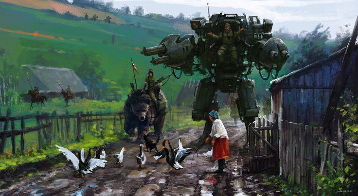 Jakub Rozalski est un artiste polonais désormais basé à Hambourg, en Allemagne. Il réalise des illustrations à l'atmosphère vraiment incroyable et immersive. Dans son projet 1920+, cet illustrateur intègre des éléments de science-fiction dans des scènes du début du siècle passé. Le résultat est très intéressant. Pour en voir davantage, visitez son ArtStation.
