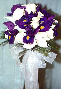 Flower Combo Purple Iris White Roses White Mini Callas