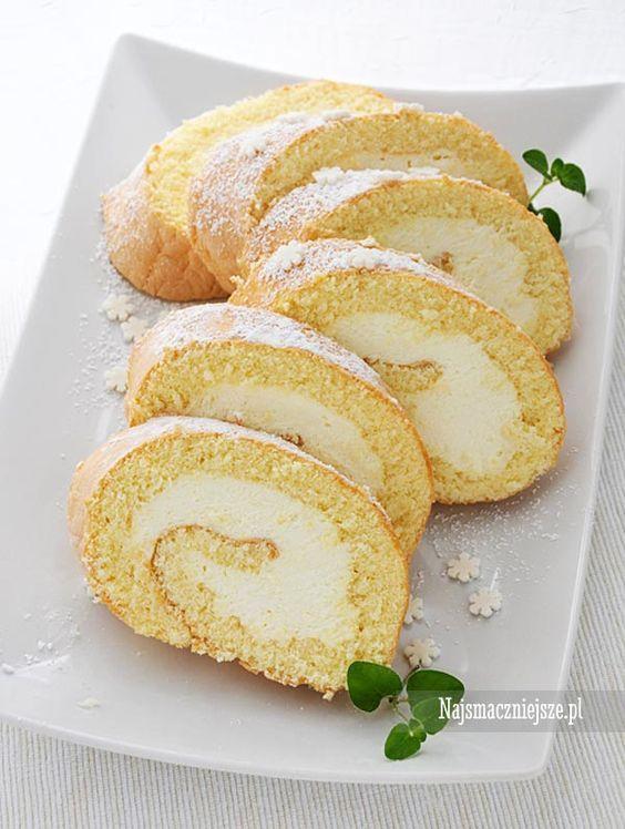 Rolada z kremem waniliowym, rolada biszkoptowa, rolada, ciasto, http://najsmaczniejsze.pl #food #ciasto #rolada