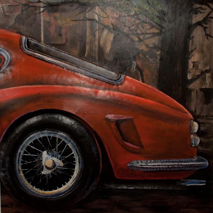 CUADRO FERRARI C. Acrílico sobre metal con detalle de la carrocería del Ferrari en relieve. Junto con el cuadro FERRARI A y el cuadro FERRARI B conforman un cuadro fraccionado en 3. Medidas: 80 x 8,5 x 80 cm. Peso: 8,5 kgs.