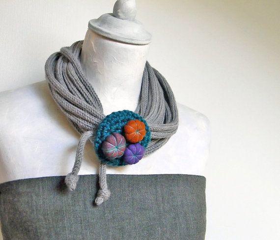 Infinity wool scarf with crocheted closure. Tweed light grey, teal green, purple, cinnamon.