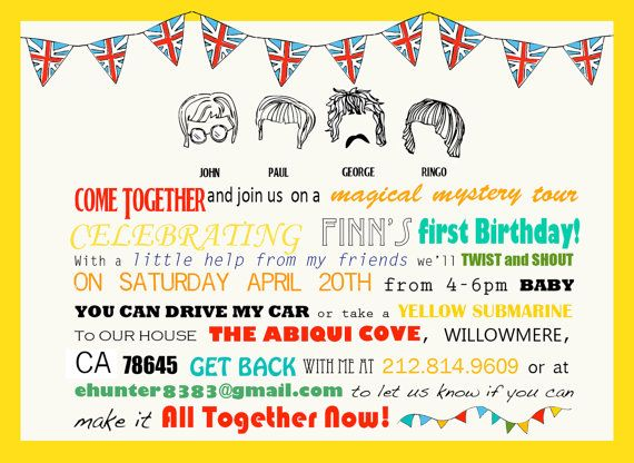 25 best ideas about Beatles birthday party – Beatles Party Invitations