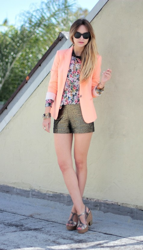 floral top, peach blazer, gold shorts | Late Afternoon | #outfit
