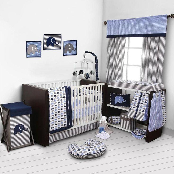 Elephants Crib Set 10 pc Blue Gray Bedding Baby Nursery Bumper Boy Comforter #Bacati