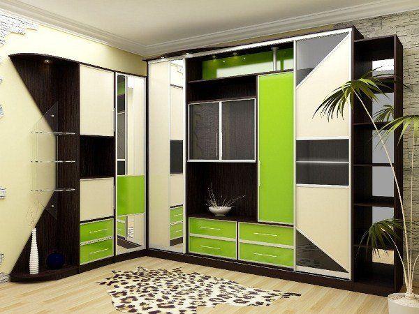 угловые шкафы купе фото дизайн в гостиную