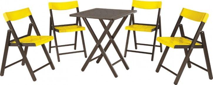 Conj Potenza 1 Mesa + 4 Cadeiras Madeira Tabaco/Plástico Amarelo - 10630045 : Madeira - Conjuntos | Tramontina