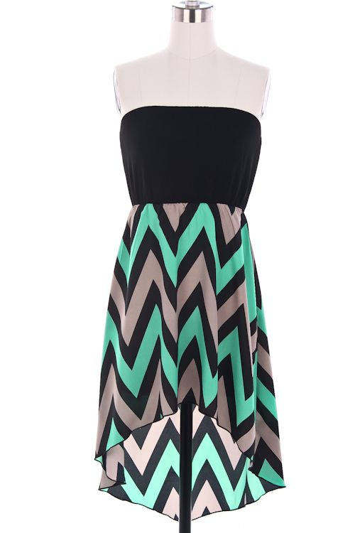 black, mint and grey chevron high low skirt another cute homecoming dress