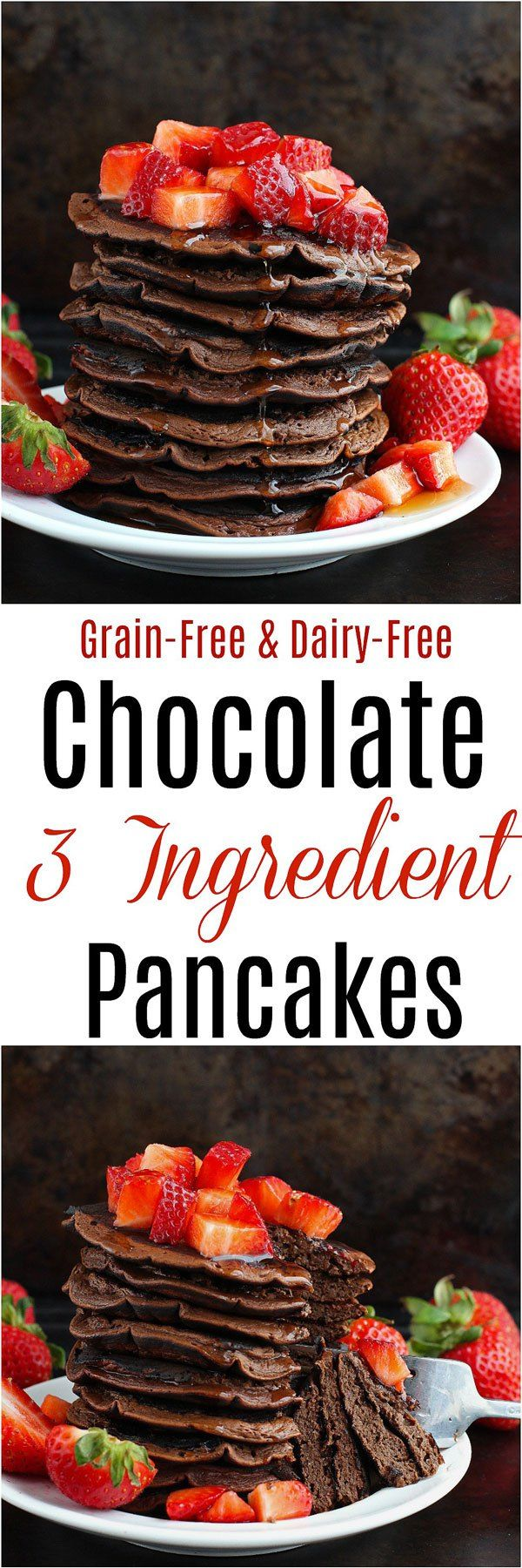 Chocolate 3 Ingredient Pancakes - All you need is three ingredients and a few minutes and you've got yourself a batch of delicious Chocolate 3 Ingredient Pancakes! Gluten-free, grain-free, dairy-free and paleo