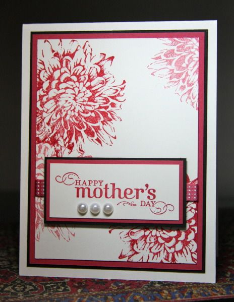 handmade Mother's Day card: Blooming Mother by CAKath ... white base ... red stamping and layer lines ... thin black layer lines to hold in off-the-page stamping of gorgeous big flower ... luv it! ... Stampin' Up!