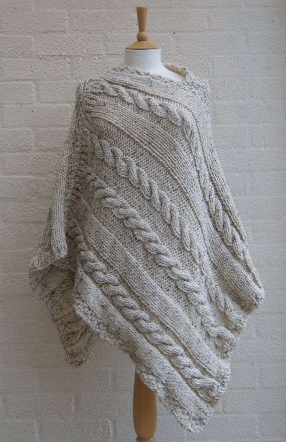 Chunky knit Oatmeal Poncho/ Women Poncho by StripesnCables on Etsy, £100.00