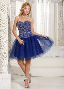 Peacock Blue Beaded Strapless Knee-length Prom Dresses Made in Tulle
