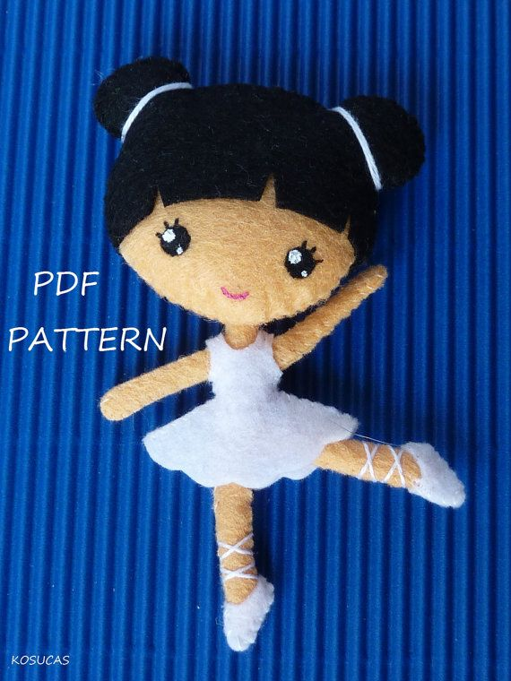 PDF sewing pattern to make a small felt ballerinas. by Kosucas