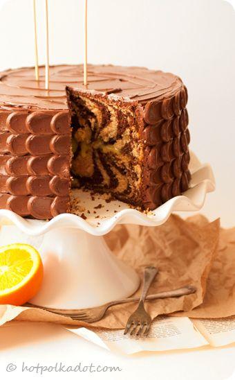 Chocolate Orange Tiger Cake via @hotpolkadot