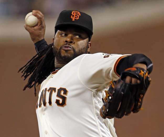 Giants-Dodgers tickets plunge to $6 after brutal start  -  April 24, 2017:    San Francisco Giants' starting pitcher Johnny Cueto delivers in 1st inning against Colorado Rockies during MLB game at AT&T Park in San Francisco, Calif., on Thursday, September 29, 2016.