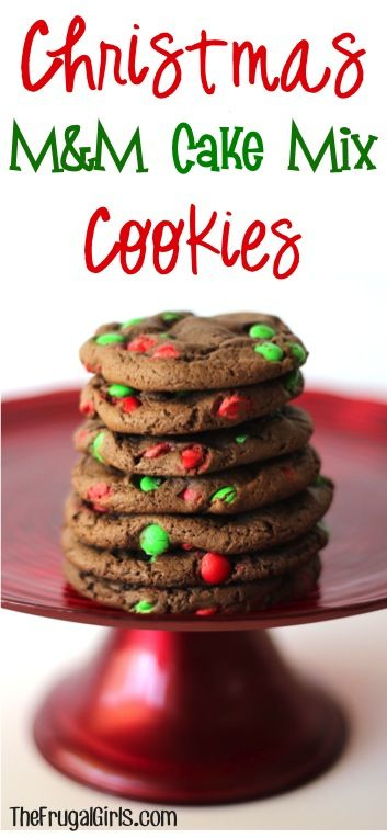 Christmas M and M Cake Mix Cookies Recipe at TheFrugalGirls.com