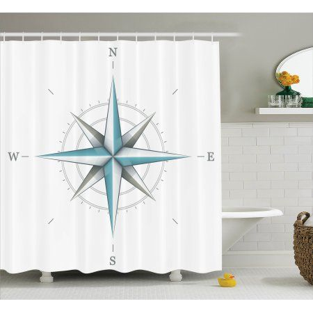 Compass Shower Curtain Set, Antique Wind Rose Diagram for Cardinal Directions Axis of the Earth Illustration, Bathroom Decor, Blue Grey White, by Ambesonne