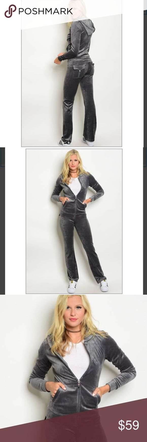 GRAY VELOUR LOUNGE SUIT YES!!! MUST HAVE!! VELOUR LOUNGE SUIT. COMFY COZY. PERFECT LOUNGE WEAR FOR A DAY IN OR LOOK AMAZING EFFORTLESSLY IN THIS SUIT FOR A DAY OUT. FEATURES SLIM FIT. BACK POCKETS. I OPEN AND INSPECT EVERY ITEM. I TAKE PHOTOS OF EVERY ITEM. THE DORM BOUTIQUE Pants Track Pants & Joggers