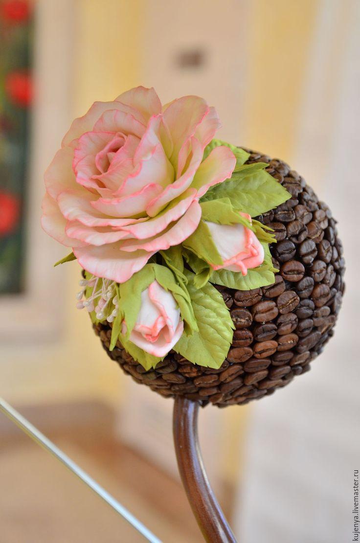 """Купить Кофейный топиарий """"Романтика роз"""" - коричневый, розовый, топиарий, Кофейный топиарий, топиарий из кофе"""