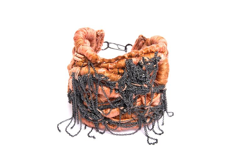 Gabriela Horvat Paula Dipierro Bracelet: Untitled, 2015 Sterling silver, plated copper, pure silk, semiprecious stones 6.5 x 8 cm Photo by: Pablo Mehanna From series: The black widow Coiling, wrapping, embroidery .