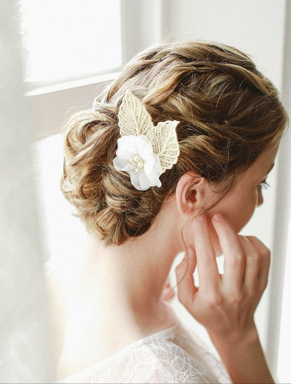 STYLE - #215 CODE:HRP011 Chiffon flower with gold leaves. Romantic wedding hair pin features dainty chiffon flower adorned with gold framed crystal and pearl charm.  Two golden lace leaves peek out on the side. To order yours contact us at loca@localoca.co.za www.localoca.co.za