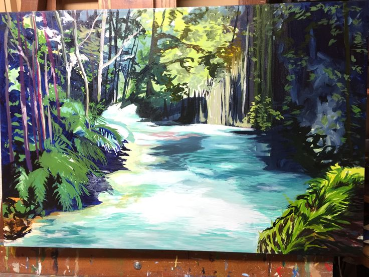 Costa Rica River painting in process