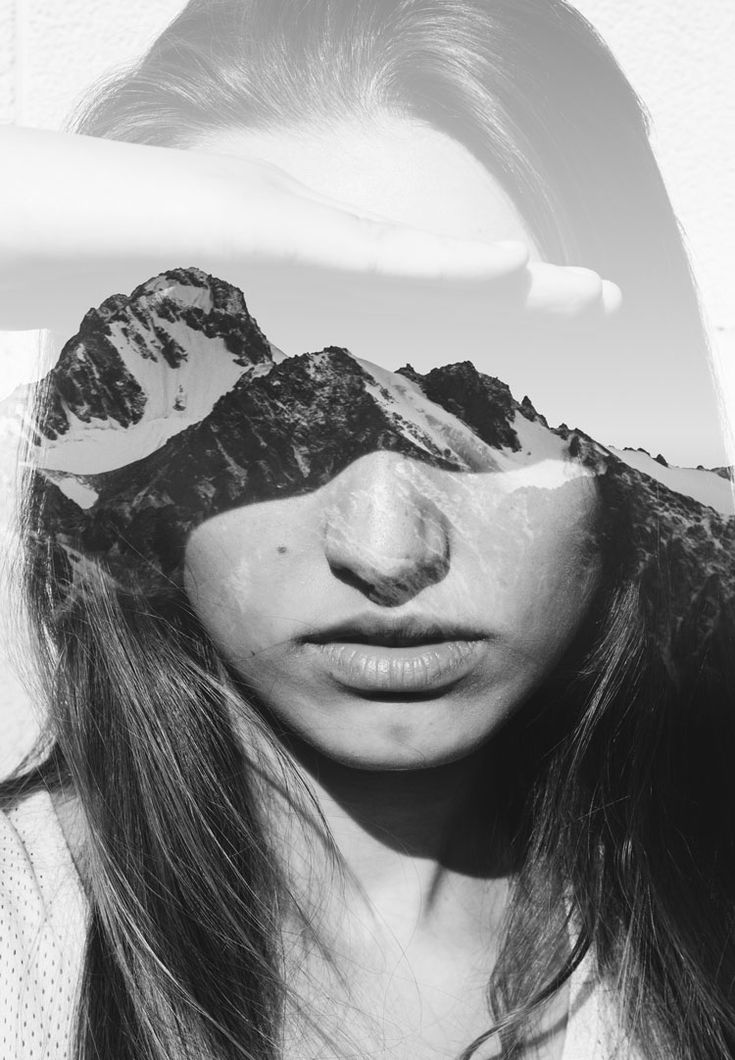 Portrait of a girl combined with a photo of a snowy mountain | Victor…