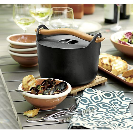 Sarpaneva Dutch Oven with Wood Handle I Crate and Barrel can still be used indoors  #setthetable