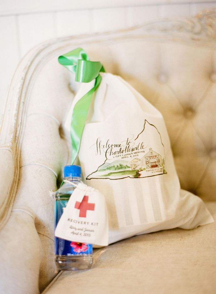 Wedding Gift Bag Ideas Washington Dc : Charlottesville wedding welcome bag, hangover kit, wedding essentials ...