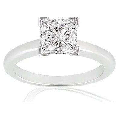 Princess Solitaire Diamant-Verlobungsring festen Weißgold 14k 0,55 Karat Jede Größe (14 Karat (585) Weißgold)