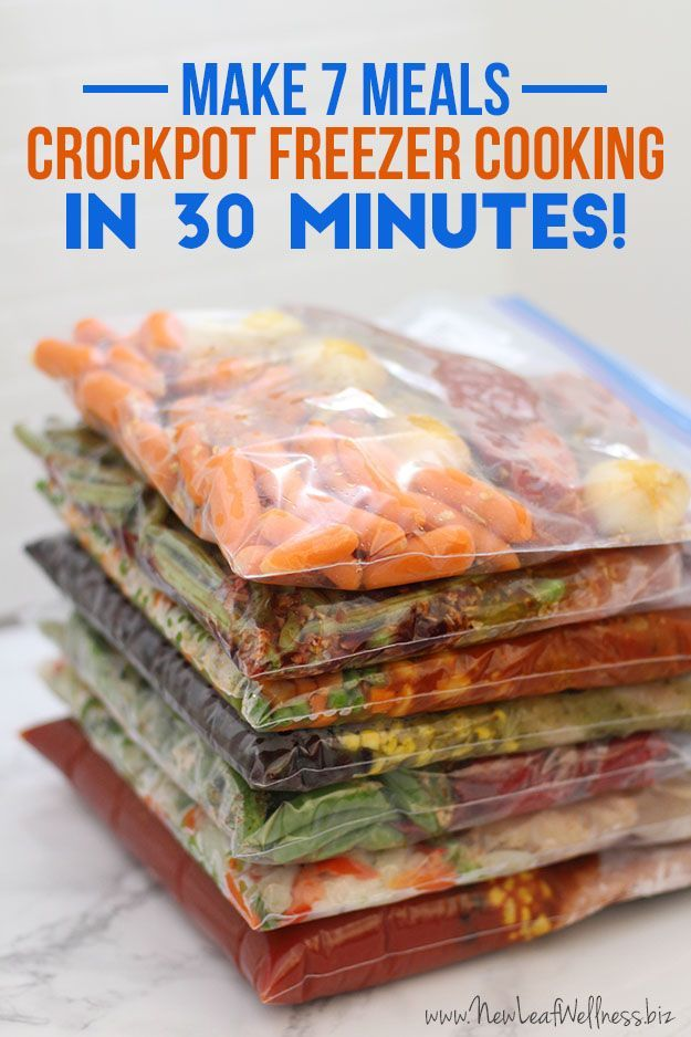 Learn how to save time and money with crockpot freezer cooking. These 7 meals can be made in 30 minutes and include easy instructions and a grocery list.