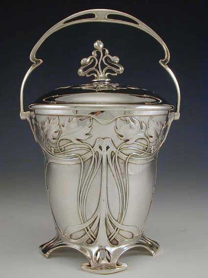 WMF Art Nouveau Biscuit Barrel Silver-plate on pewter & brass biscuit barrel with art nouveau floral decoration Germany 1906