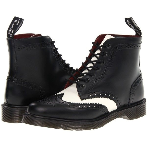 Dr. Martens Affleck Brogue Boot Lace-up Boots, Black ($80) ❤ liked on Polyvore featuring shoes, boots, black, slip resistant boots, metallic boots, slip resistant shoes, black oxford shoes and black brogue boots