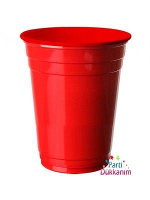 Kırmızı Plastik Lüks Meşrubat Bardağı (8 adet)