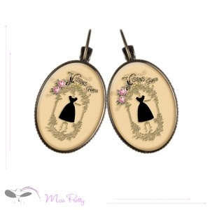 HAUTE COUTURE - cabochon earrings - boucles d'oreilles cabochons. Cabochons :: brass :: laiton :: glass :: verre :: retro :: vintage :: mode :: fashion :: dress :: robe