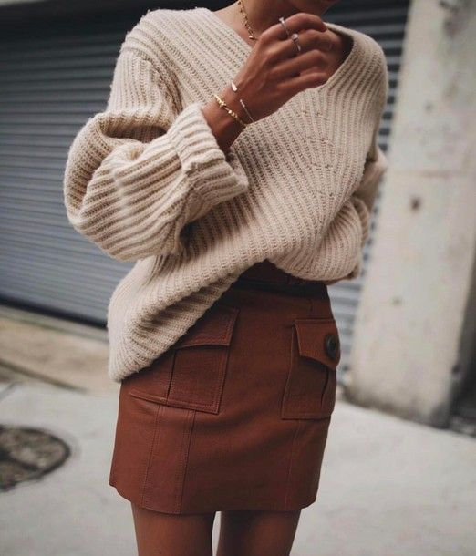 Sweater: bracelets gold necklace brown skirt tumblr oversized nude gold bracelet jewelry gold