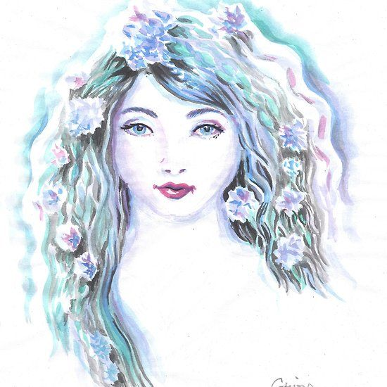 Violet hair lady watercolor painting