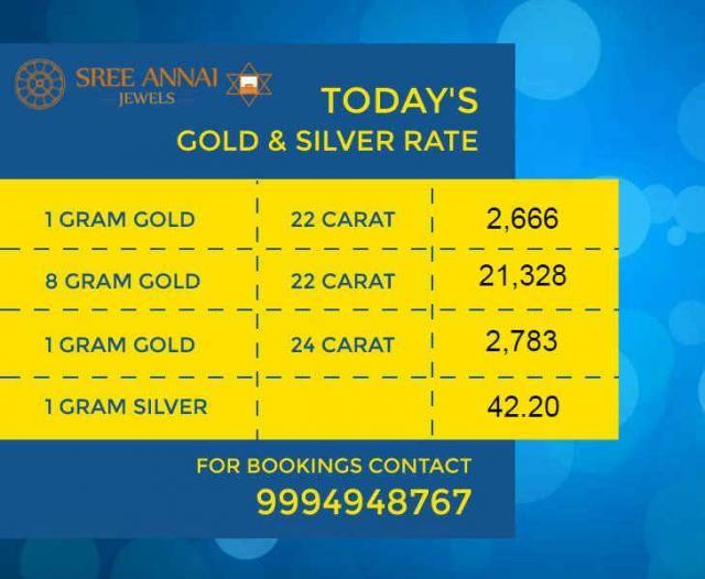 Today's (19/12/2016) Gold and Silver Rate #GoldRate #Gold #SilverRate #Silver #OneGramGold #OneGramSilver இன்று, டிசம்பர் 19, 2016. இந்திய ரூபாயில், தங்கம் மற்றும் வெள்ளி விலை நிலவரம். #SreeAnnaiJewels