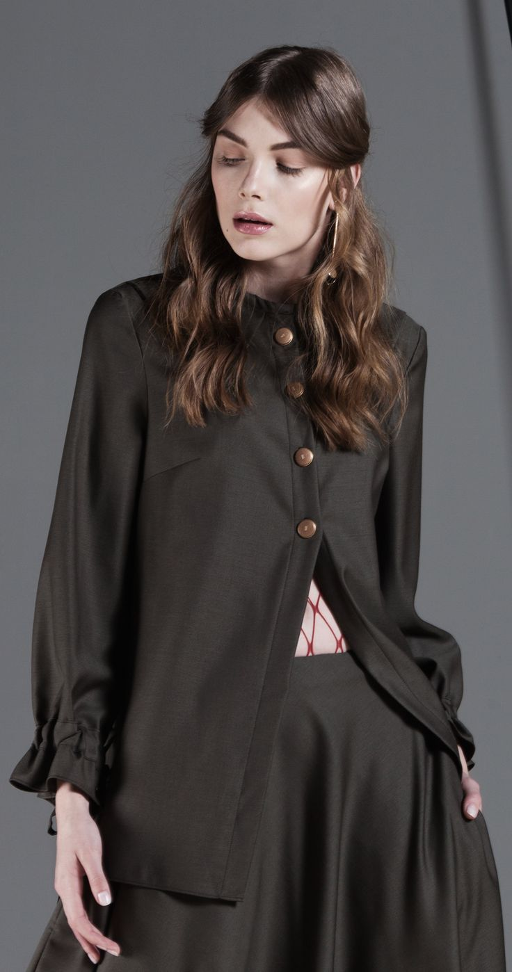 Shop our Fay olive shirt, only on http://cajun.ro #lucianrusu, #crinabulprich, #statement