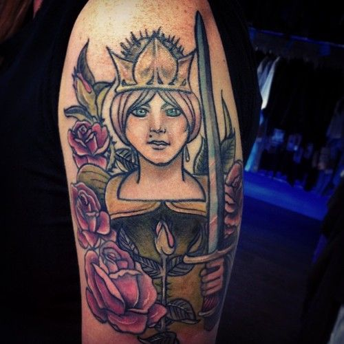 Queen of swords tarot card tattoo- I don't know if I want mine out of the card like this, or made to look in the card?