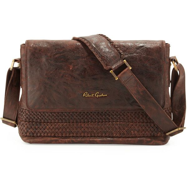 Robert Graham Men's Haywood Braided Leather Messenger Bag ($359) ❤ liked on Polyvore featuring men's fashion, men's bags, men's messenger bags, bags, accessories, mens courier bag, mens leather messenger bag, mens brown leather messenger bag, mens messenger bag and mens vintage leather messenger bag