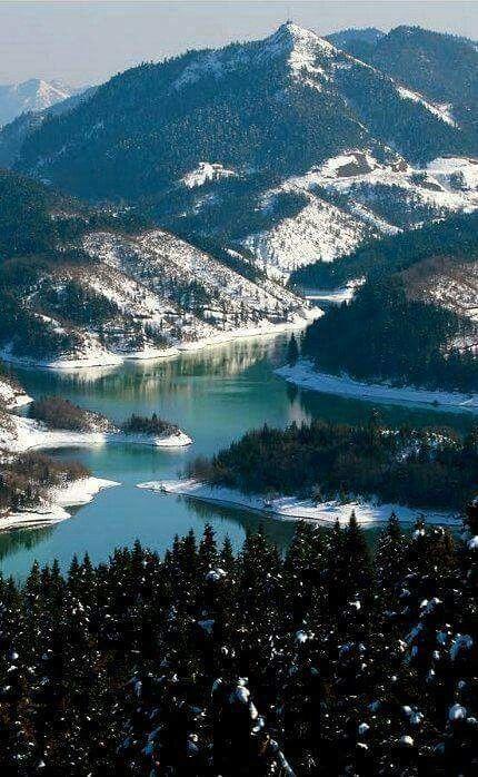 Visit Greece | A ravishing view of Lake Plastira, Thessaly. #Greece #visitgreece #winter