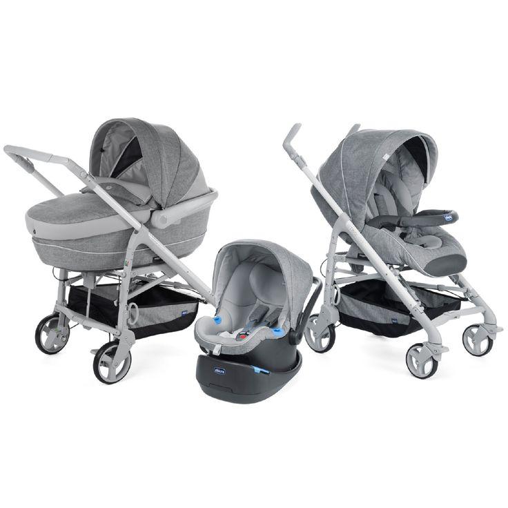 Trio Love Motion, une solution complète idéale pour le transport de bébé de 0 à 3 ans : nacelle/lit-auto, siège-auto et poussette réversible. Entièrement équipé.