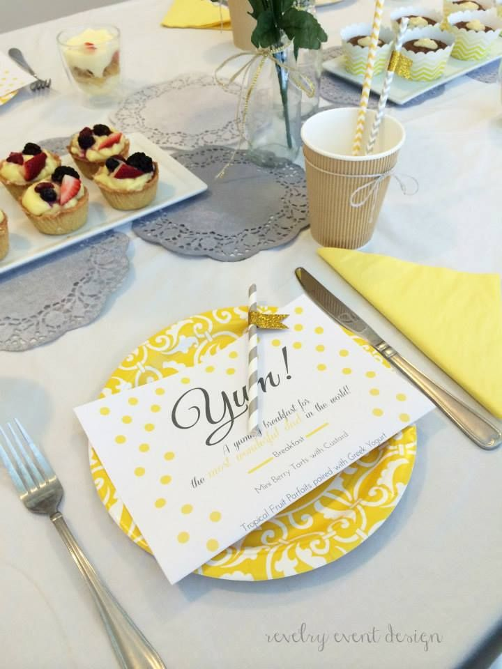 Father's Day breakfast table | yellow and grey theme | rustic | doilies | diy doilies | grey doilies | carrot cupcakes | berry tarts | striped straws | father's day menu | modern stationery | modern menu | by Revelry Event Design
