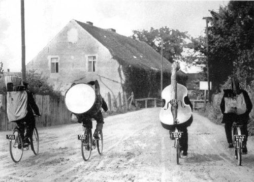 band on bikes: The Roads, Musicians, Time Travel, Bike Riding, White Style, Vintage Music, Black White, Photography, The Bands