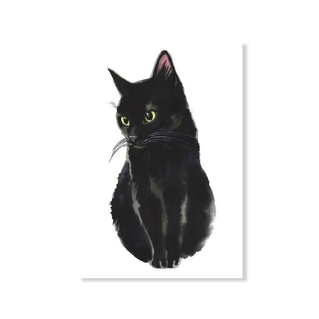 You Had Me At Meow Cute Black Cat Art Posters Black White Fine Art Canvas Prints Black Cat Art Watercolor Cat Black Cat Painting