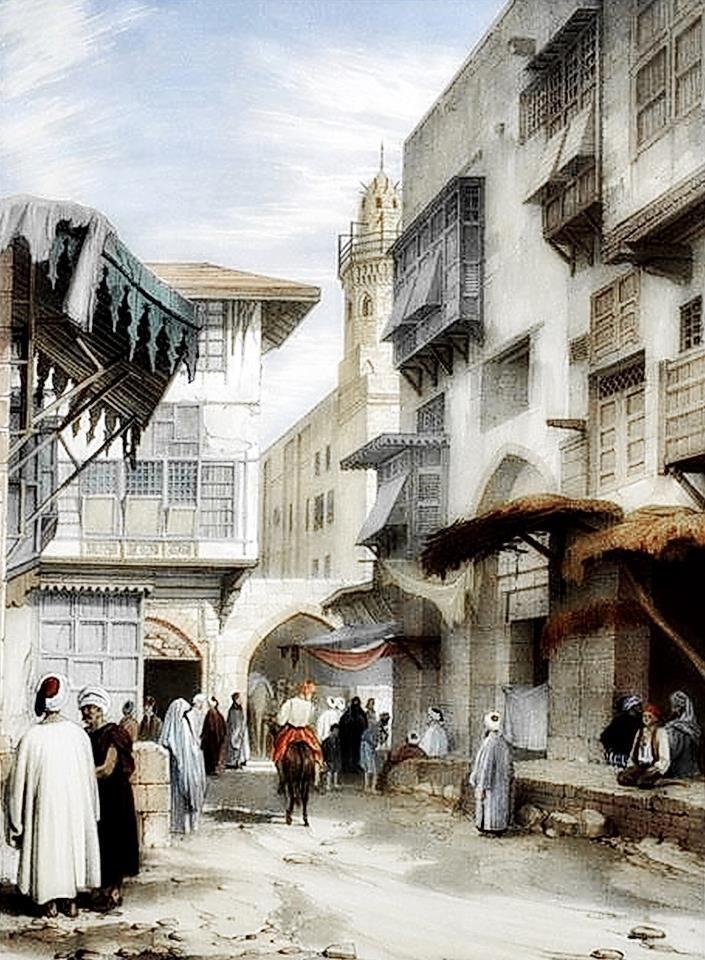 A street scene in Cairo  By Owen Browne Carter - ( British , 1806 – 1859 )