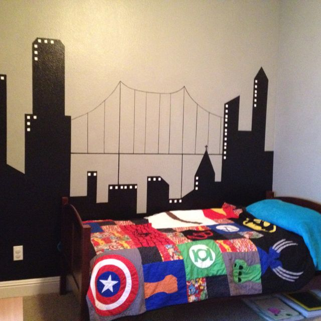 Superhero room coming together....correct me if I'm wrong, but I'm pretty sure mixing Marvel and DC is against the law...