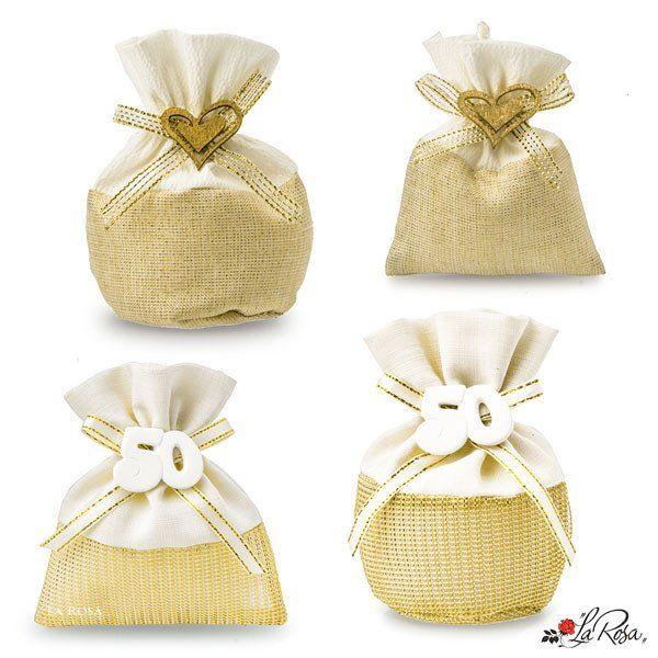 Sacchettini Portaconfetti Nozze D Oro 50 Anni Matrimonio Sacchettini In Tessuto Colore D Orato Con Applicazione Gessetto Numero 5 Nozze D Oro Nozze Bomboniere
