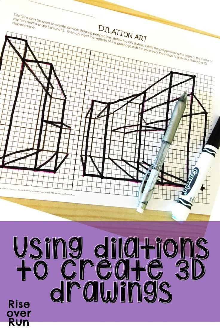 Practice Dilations To Create 3d Drawings With This Engaging Activity For Your Transformations Unit Student 8th Grade Math Math Lesson Plans Math Art Projects